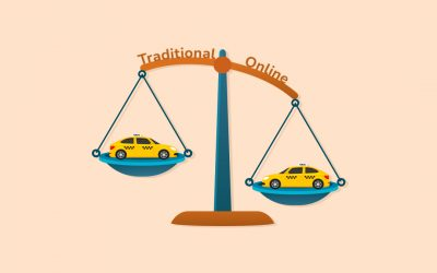 How does an online taxi business differ from a traditional business?